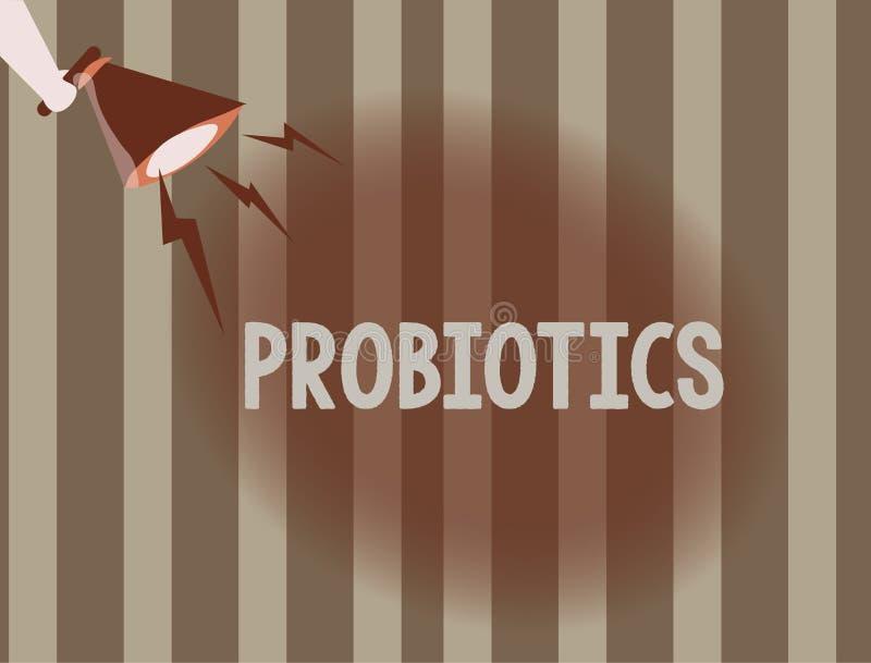 Signe des textes montrant Probiotics Le micro-organisme vivant de bactéries de photo conceptuelle a accueilli dans le corps pour  illustration de vecteur