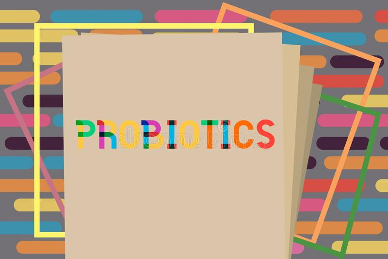 Signe des textes montrant Probiotics Le micro-organisme vivant de bactéries de photo conceptuelle a accueilli dans le corps pour  illustration libre de droits