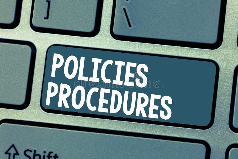 Signe des textes montrant des procédures de politiques Influence conceptuelle Major Decisions de photo et directives de règles d' photo libre de droits