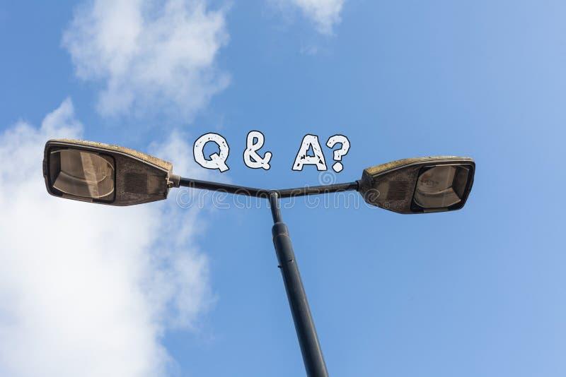 Signe des textes montrant Q et une question E photo libre de droits
