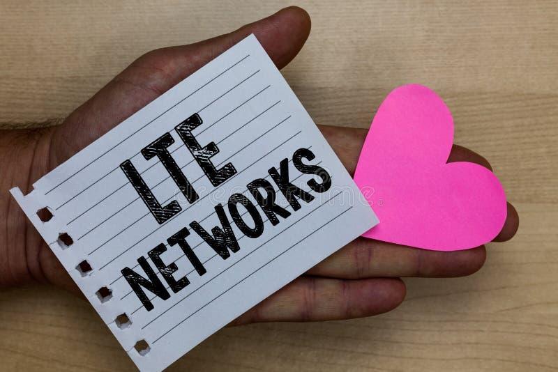 Signe des textes montrant des réseaux de Lte La connexion réseau la plus rapide de photo conceptuelle disponible pour l'homme san photos libres de droits