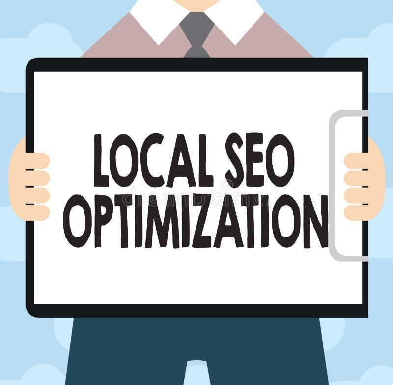 Signe des textes montrant Seo Optimization local Visibilité conceptuelle de recherche d'augmentation de photo à ranger sur la lis illustration de vecteur