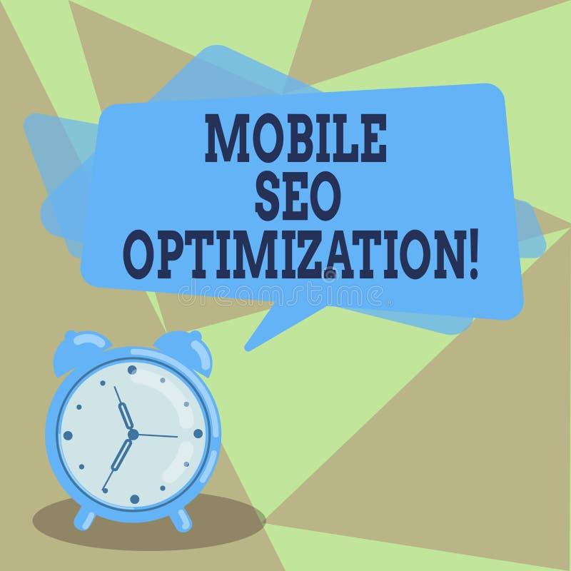 Signe des textes montrant Seo Optimization mobile La photo conceptuelle permet à un site Web de se ranger pour le blanc mobile de illustration de vecteur