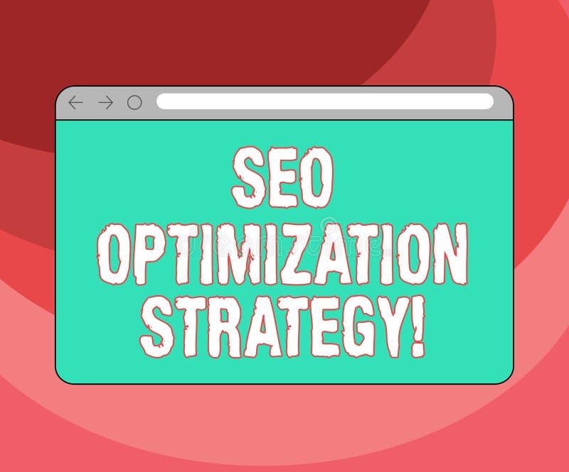 Signe des textes montrant Seo Optimization Strategy Le processus conceptuel de photo d'organiser un site Web s est écran de monit illustration stock