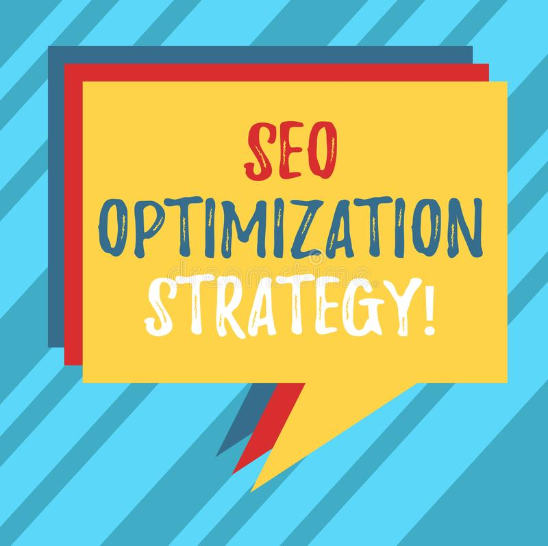 Signe des textes montrant Seo Optimization Strategy Le processus conceptuel de photo d'organiser un site Web s est pile satisfait illustration stock