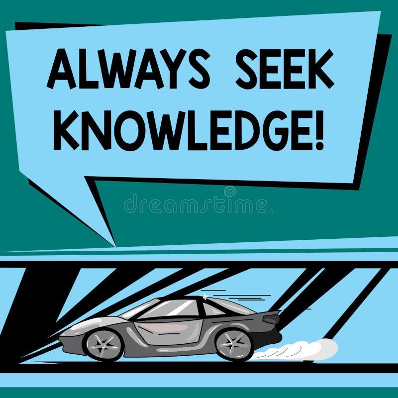 Signe des textes montrant toujours la connaissance de recherche Sens fort d'autodidacte conceptuel de photo de voiture cherchée d illustration stock