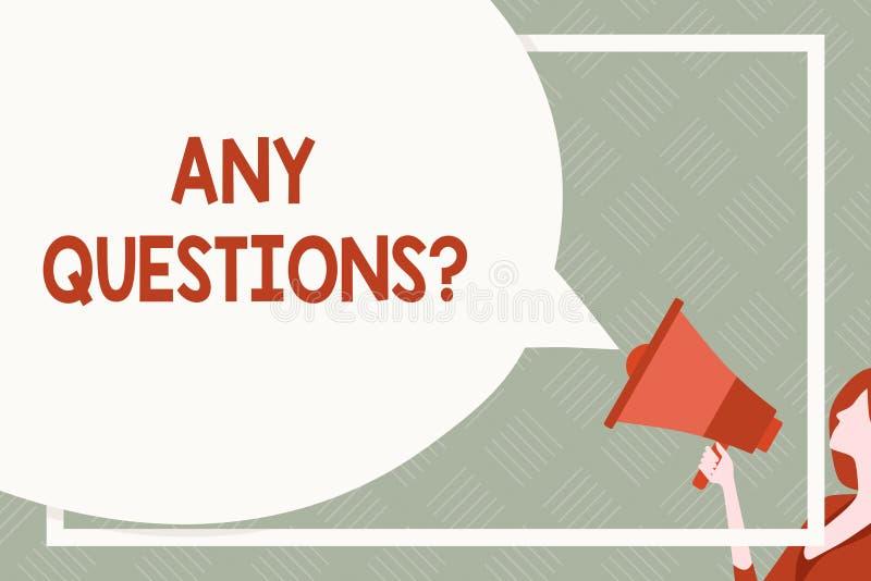 Signe des textes montrant toute question de questions Photo conceptuelle que vous dites d'?crire l'ordre pour demander la d?monst illustration de vecteur