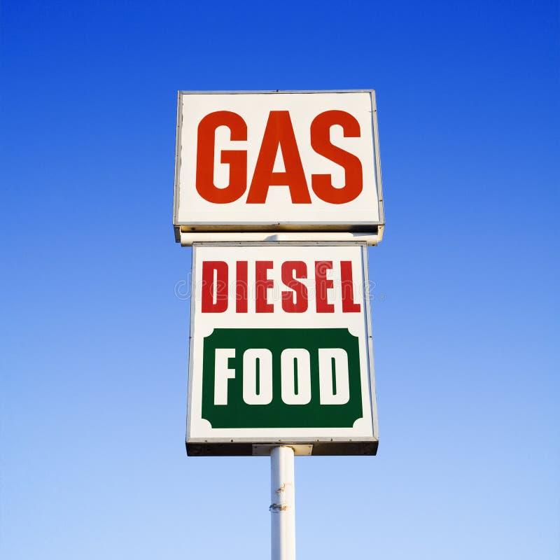 Signe diesel de nourriture de gaz. photos libres de droits