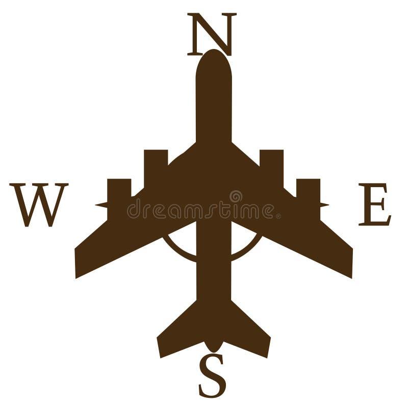 Signe directionnel avec l'avion illustration libre de droits