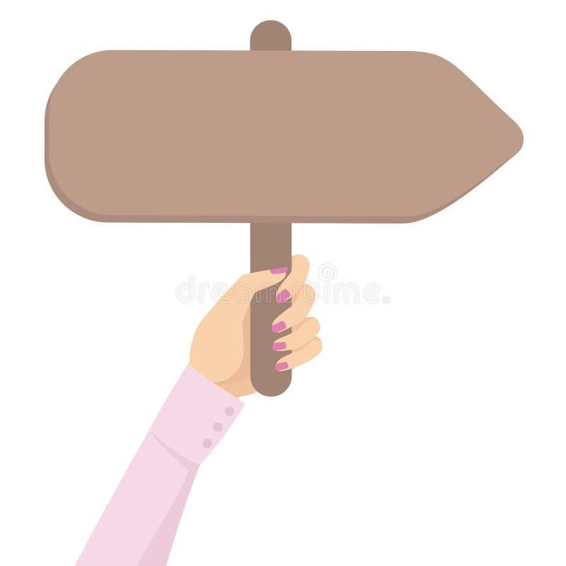 Signe directionnel de bannière de piquet de participation de main d'affaires de femme dans l'illustration plate de vecteur de che illustration libre de droits