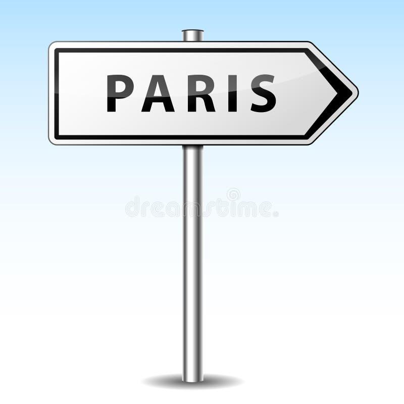 Signe directionnel de Paris de vecteur illustration stock
