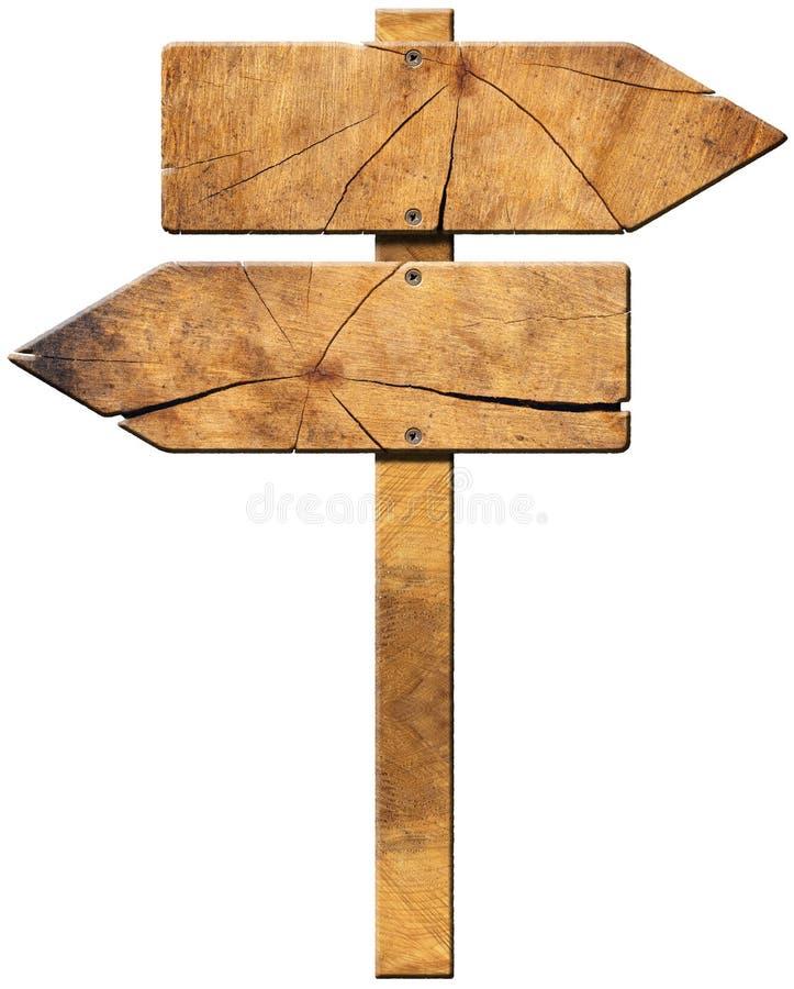 Signe directionnel en bois - deux flèches illustration de vecteur