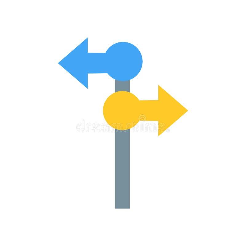 Signe directionnel et symbole de vecteur d'icône de signe d'isolement sur le fond blanc, concept directionnel de logo de signe illustration libre de droits