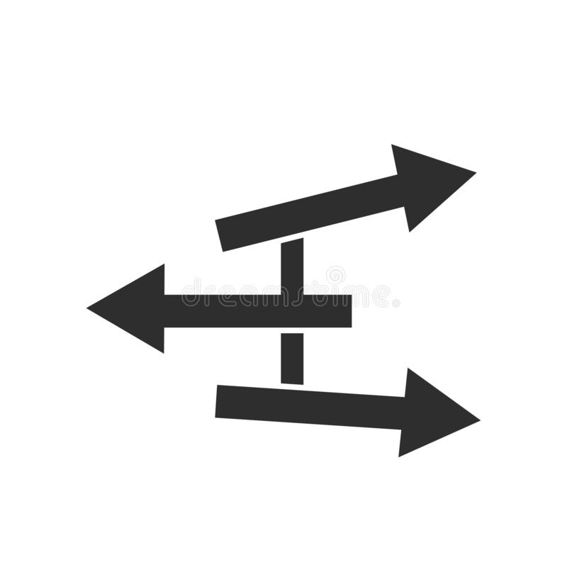 Signe directionnel et symbole de vecteur d'icône de signes d'isolement sur le fond blanc, concept directionnel de logo de signes illustration libre de droits