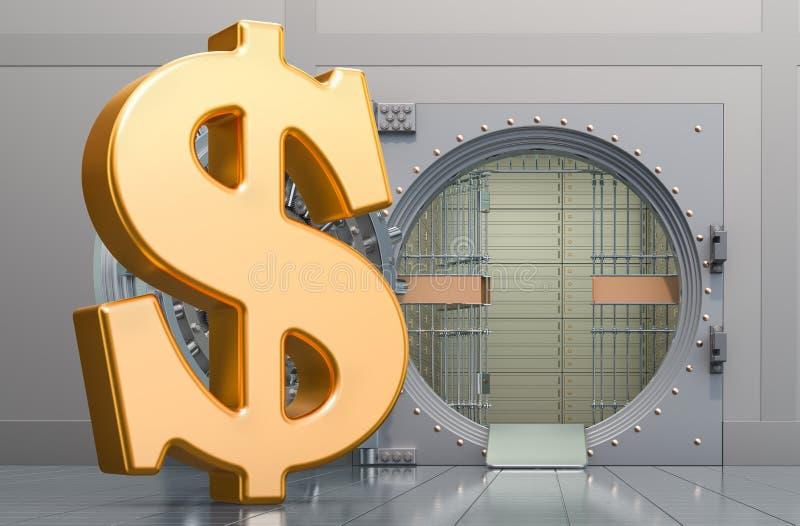 Signe dollar avec coffre-fort à banque ouvert, rendu 3D illustration libre de droits