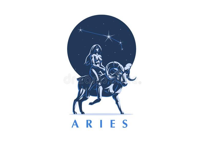 Signe du Bélier de zodiaque Les tours de fille sur le Ram blanc de vecteur d'isolement par ENV de 8 emblèmes illustration stock