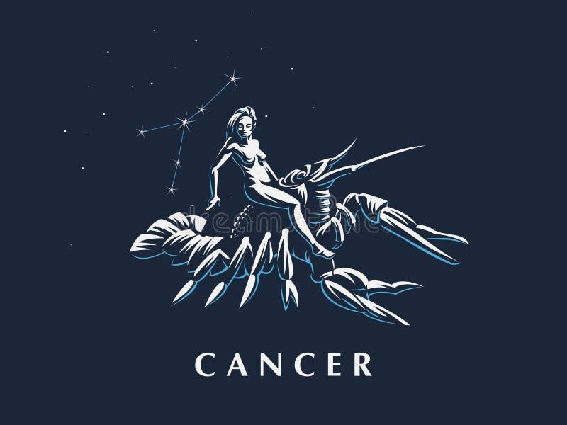 Signe du cancer de zodiaque Une femme montant une écrevisse illustration libre de droits