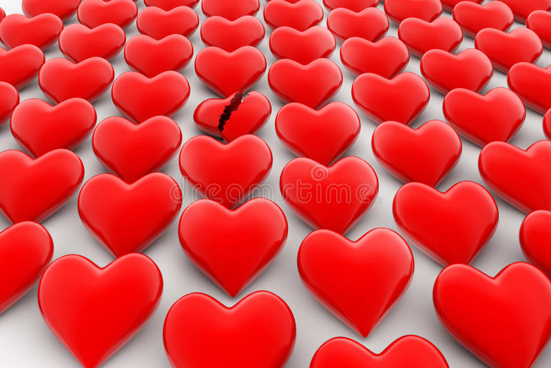 Signe du coeur brisé, perte de concept d'amour illustration de vecteur