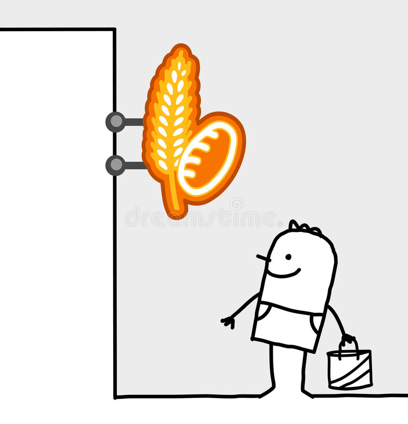 Signe du consommateur et de système - boulanger illustration libre de droits