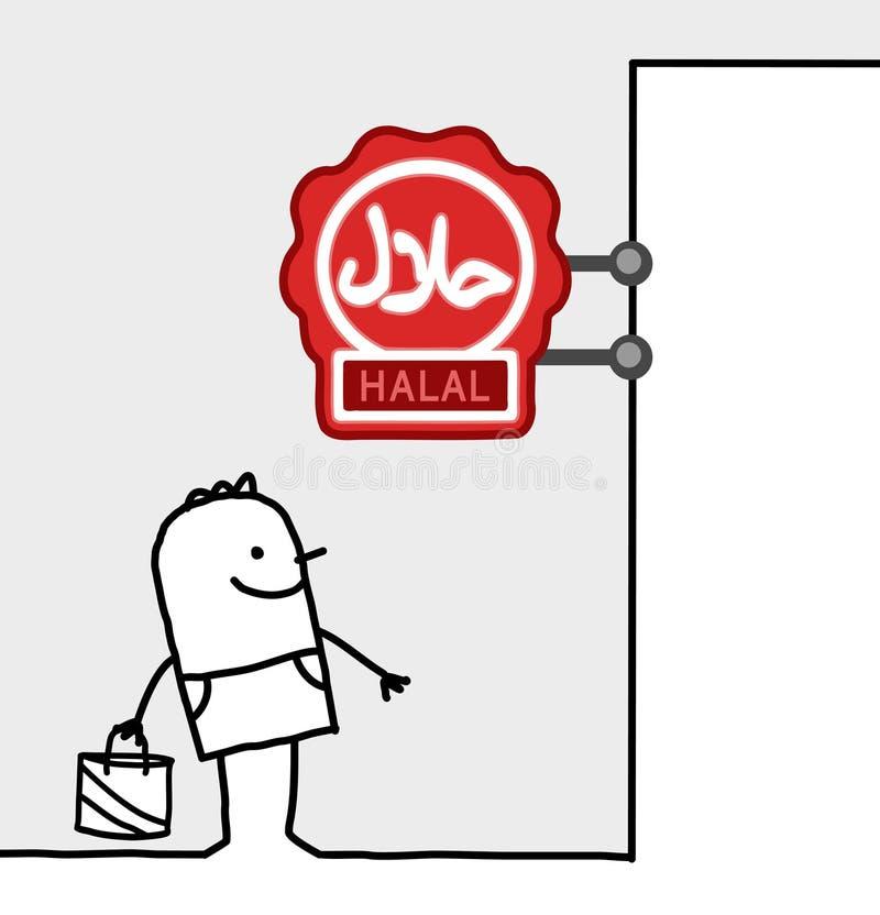 Signe du consommateur et de système - halal illustration libre de droits