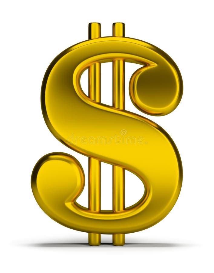 Signe du dollar d'or illustration de vecteur