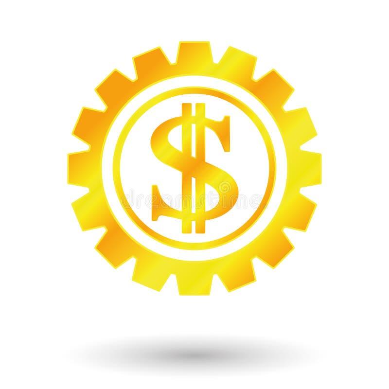 Signe du dollar d'or illustration stock