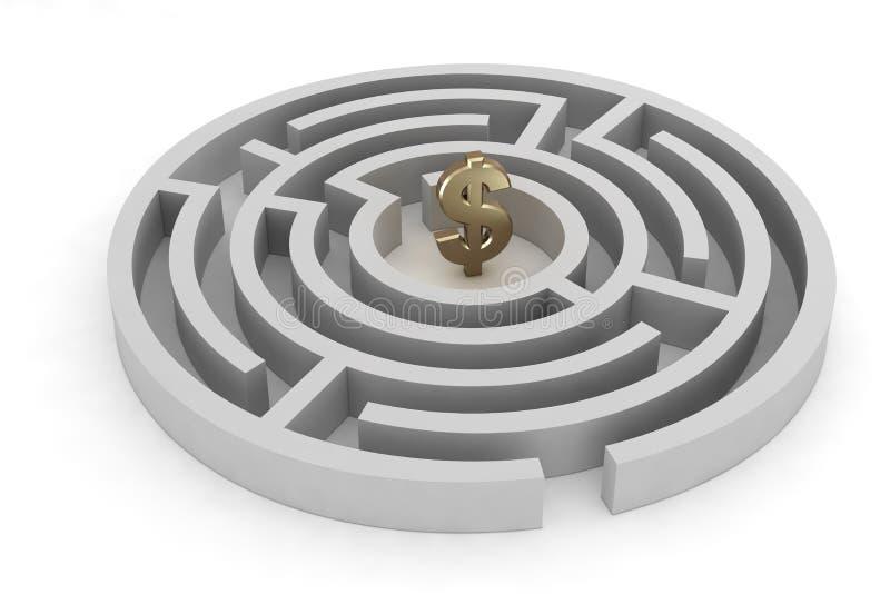 Signe du dollar de labyrinthe illustration de vecteur