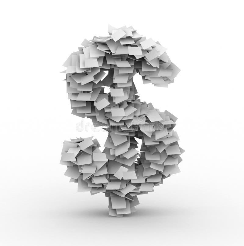 Signe du dollar, empilé des feuilles de papier illustration libre de droits