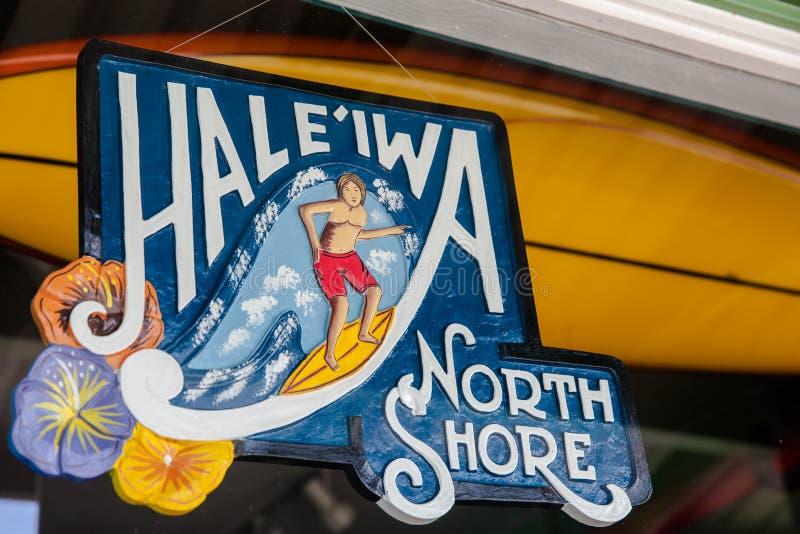 Signe du nord de rivage de Haleiwa images stock