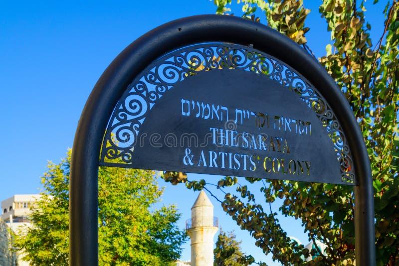 Signe du quart de Colony de Saraya et d'artiste, Safed ( ; Tzfat) ; photos libres de droits