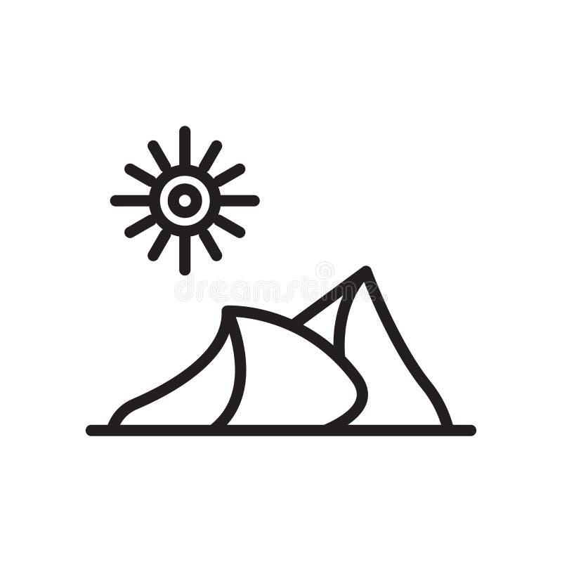Signe dunaire et symbole de vecteur d'icône d'isolement sur le fond blanc, D illustration stock