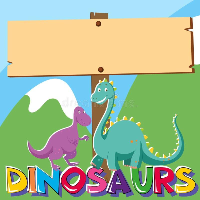 Signe en bois avec deux dinosaures illustration libre de droits