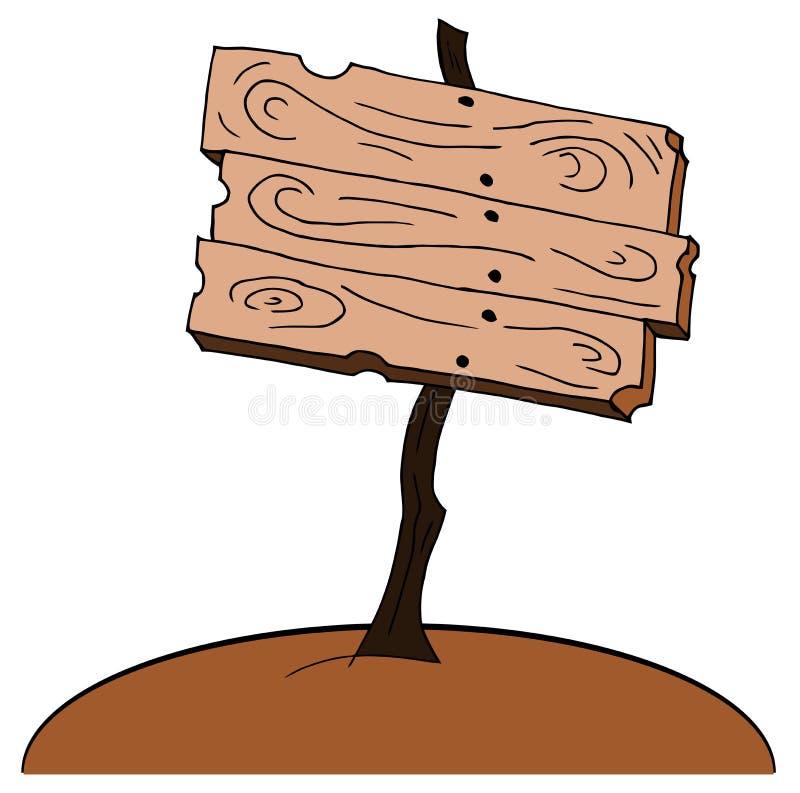 Signe en bois de bande dessinée gentille d'isolement illustration libre de droits