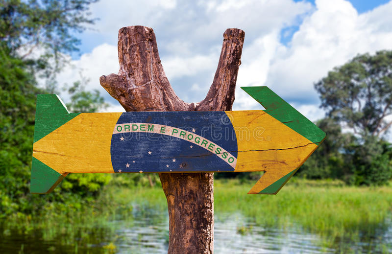 Signe en bois de drapeau du Brésil avec le fond de forêt photo stock
