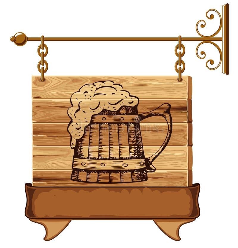 Signe en bois de pub illustration de vecteur