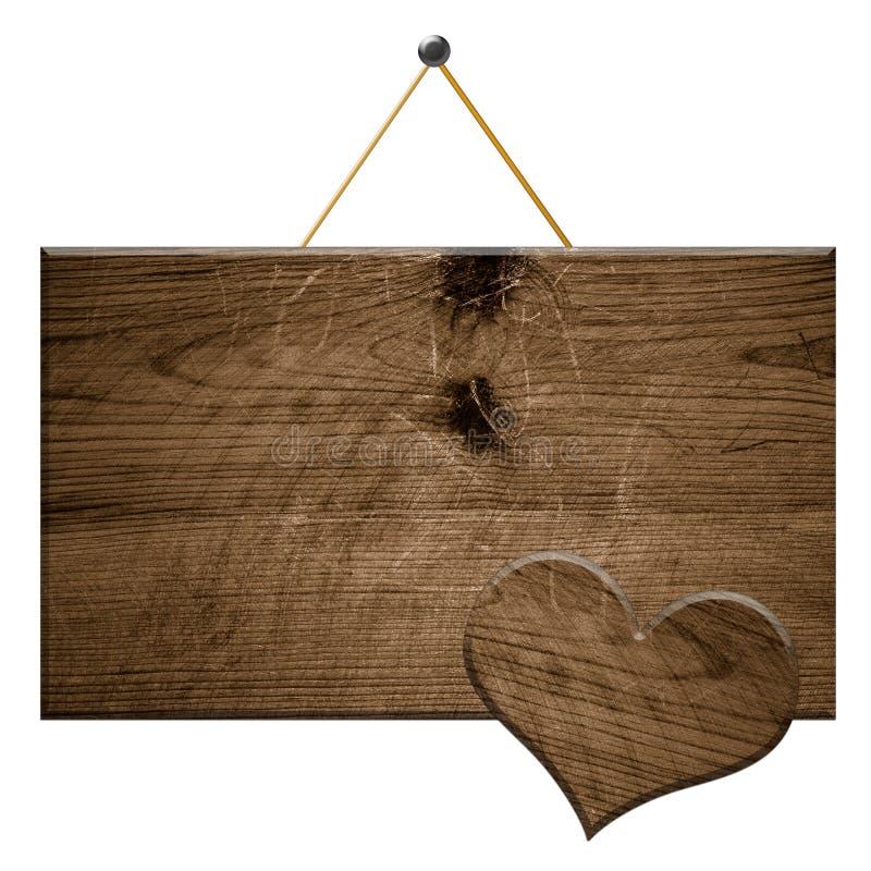 Signe en bois un coeur en bois photos libres de droits