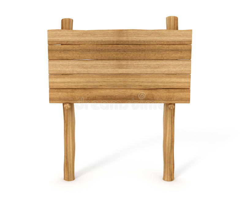 Signe en bois vide d'isolement sur le fond blanc illustration de vecteur