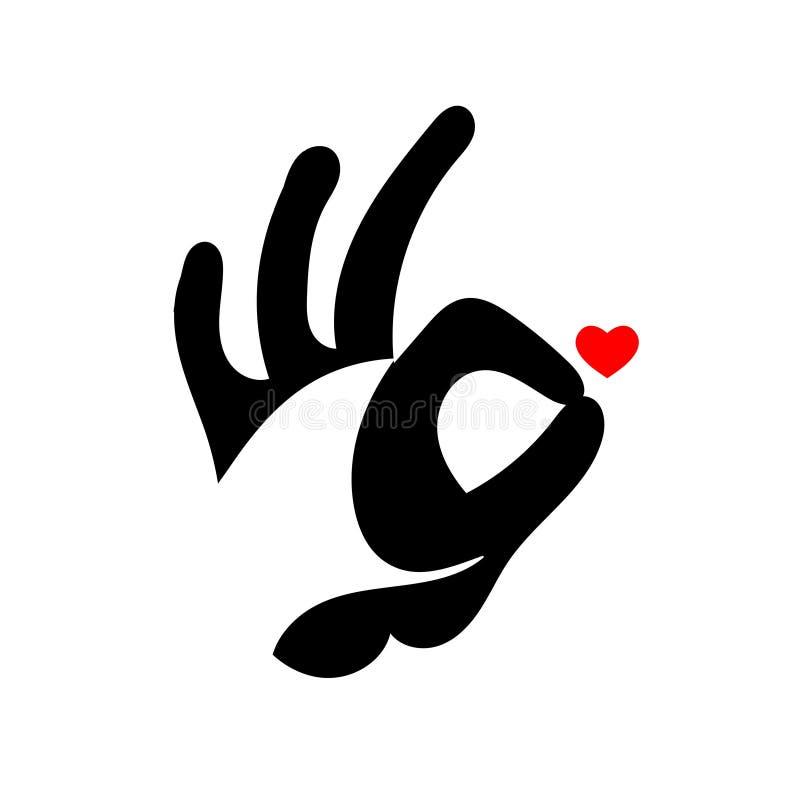 Signe EN BON ÉTAT de main Est tout droit Heureux dans l'amour illustration libre de droits