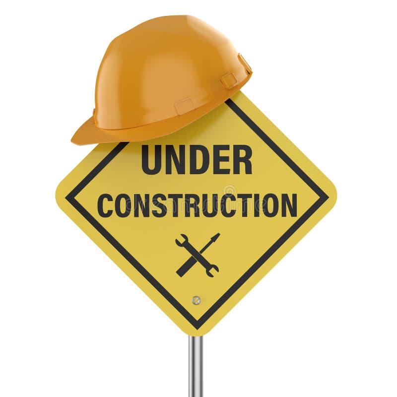 Signe en construction illustration stock