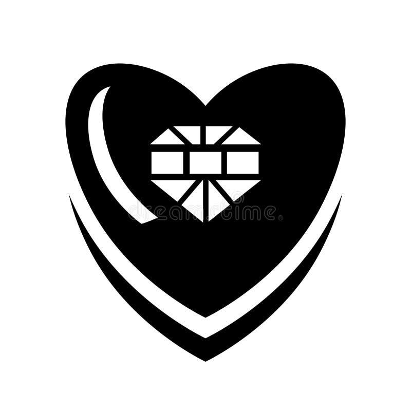 Signe en forme de coeur et symbole de vecteur d'icône de vêtements d'isolement sur le fond blanc, concept en forme de coeur de lo illustration stock