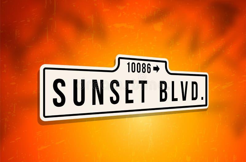 Signe en métal de boulevard de coucher du soleil illustration stock