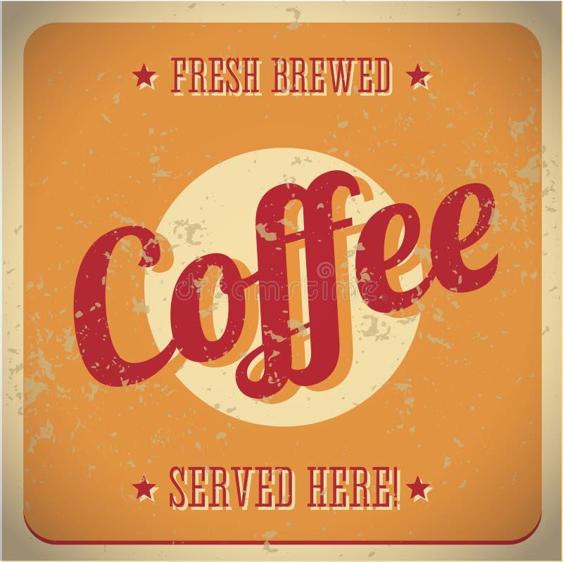 Signe en métal de cru - café préparé frais illustration libre de droits