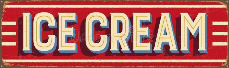 Signe en métal de vintage - crème glacée  illustration libre de droits