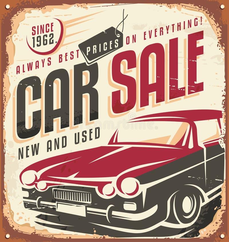 Signe en métal de vintage de vente de voiture illustration de vecteur