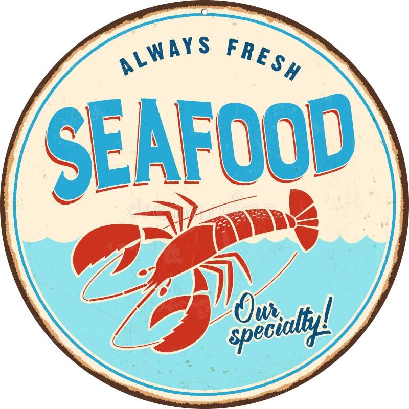Signe en métal de vintage - fruits de mer illustration libre de droits