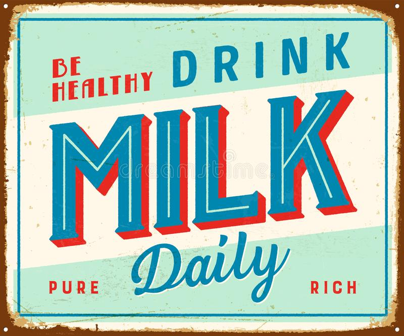 Signe en métal de vintage - soyez lait sain de boissons quotidien illustration de vecteur