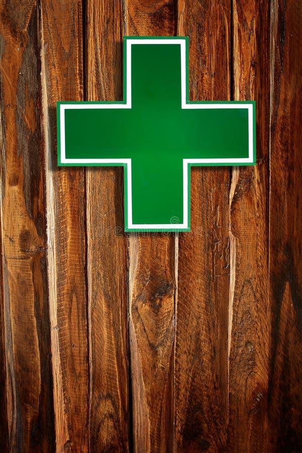 Signe en travers médical vert images libres de droits