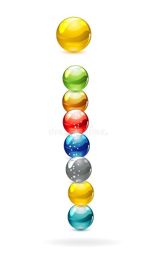 Signe en verre de cercles colorés illustration de vecteur