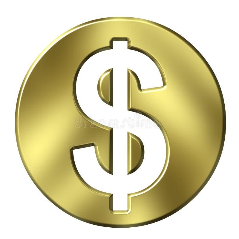 signe encadré d'or du dollar 3D illustration libre de droits