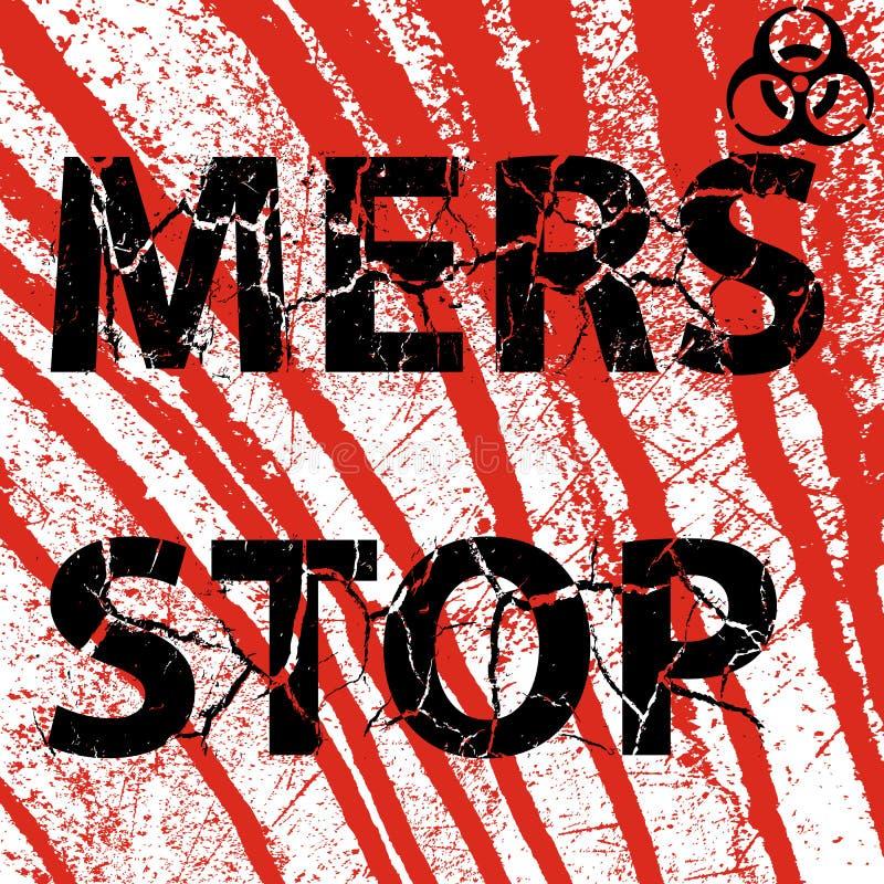 Signe ensanglanté de Mers Corona Virus d'arrêt de mur de fond Illu de vecteur illustration stock